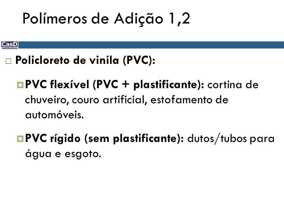Polímeros de Adição 1,2 Policloreto de vinila (PVC): PVC flexível (PVC + plastificante): cortina de chuveiro, couro artificial, estofamento de automóv