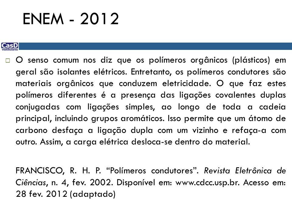 ENEM - 2012 O senso comum nos diz que os polímeros orgânicos (plásticos) em geral são isolantes elétricos. Entretanto, os polímeros condutores são mat