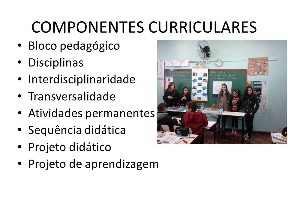 COMPONENTES CURRICULARES Bloco pedagógico Disciplinas Interdisciplinaridade Transversalidade Atividades permanentes Sequência didática Projeto didátic