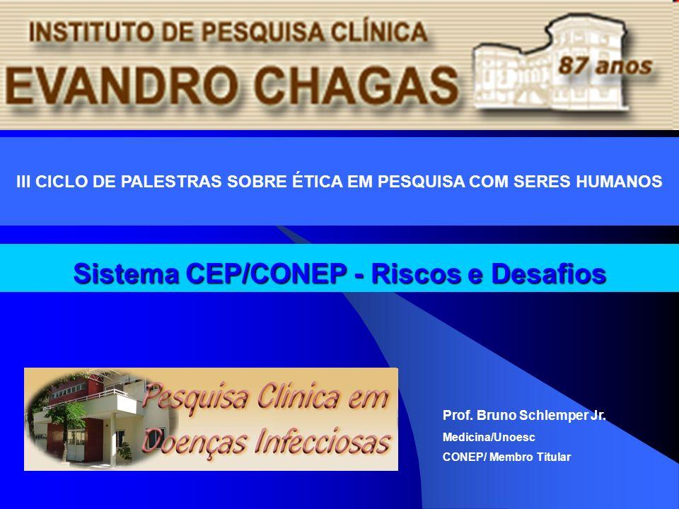 Sistema CEP/CONEP - Riscos e Desafios Prof. Bruno Schlemper Jr. Medicina/Unoesc CONEP/ Membro Titular III CICLO DE PALESTRAS SOBRE ÉTICA EM PESQUISA C