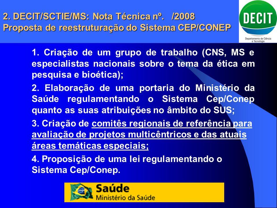 2. DECIT/SCTIE/MS: Nota Técnica nº. /2008 Proposta de reestruturação do Sistema CEP/CONEP 1. Criação de um grupo de trabalho (CNS, MS e especialistas