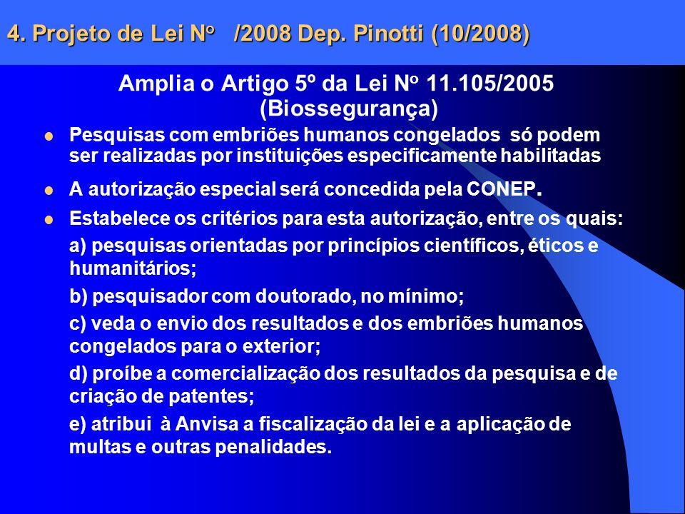4. Projeto de Lei N o /2008 Dep. Pinotti (10/2008) Amplia o Artigo 5º da Lei N o 11.105/2005 (Biossegurança) Pesquisas com embriões humanos congelados
