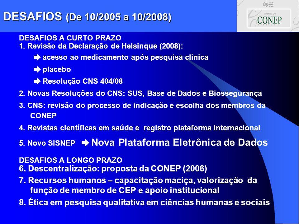 DESAFIOS (De 10/2005 a 10/2008) DESAFIOS A CURTO PRAZO 1. Revisão da Declaração de Helsinque (2008): acesso ao medicamento após pesquisa clínica place