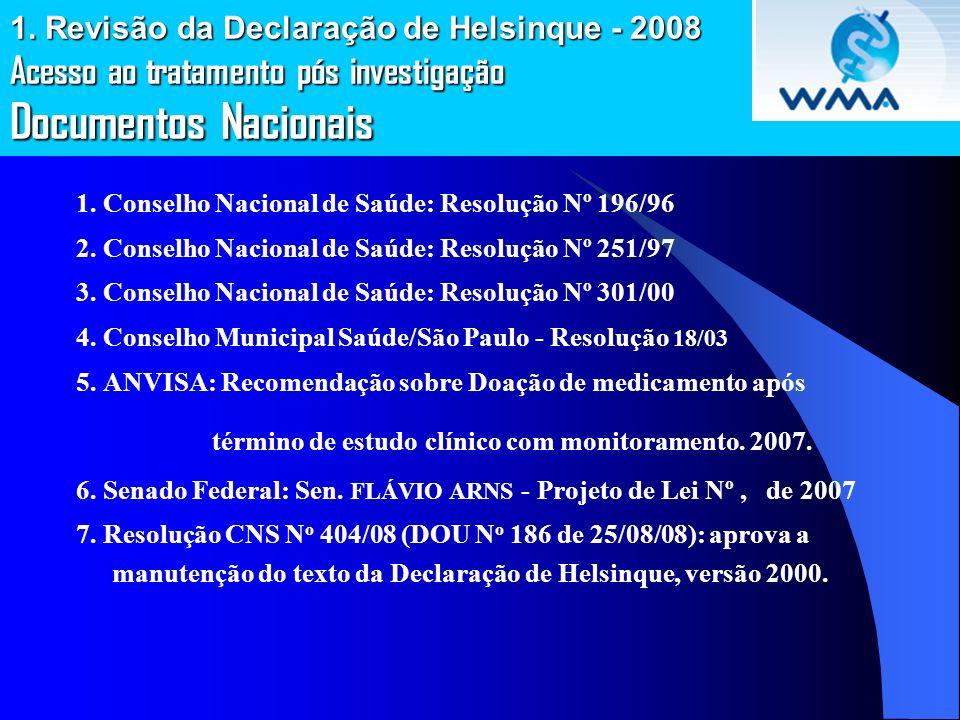 1. Revisão da Declaração de Helsinque - 2008 Acesso ao tratamento pós investigação Documentos Nacionais 1. Conselho Nacional de Saúde: Resolução Nº 19