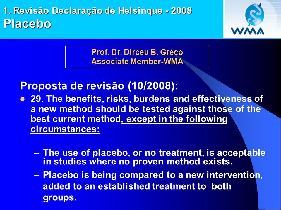 1. Revisão Declaração de Helsinque - 2008 Placebo Proposta de revisão (10/2008): 29. The benefits, risks, burdens and effectiveness of a new method sh