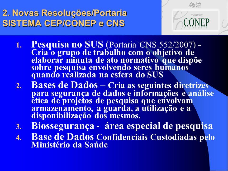 2. Novas Resoluções/Portaria SISTEMA CEP/CONEP e CNS 1. Pesquisa no SUS ( Portaria CNS 552/2007) - Cria o grupo de trabalho com o objetivo de elaborar