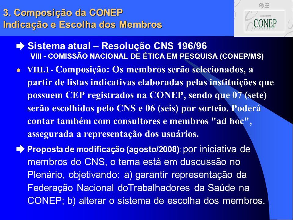 3. Composição da CONEP Indicação e Escolha dos Membros Sistema atual – Resolução CNS 196/96 VIII - COMISSÃO NACIONAL DE ÉTICA EM PESQUISA (CONEP/MS) V