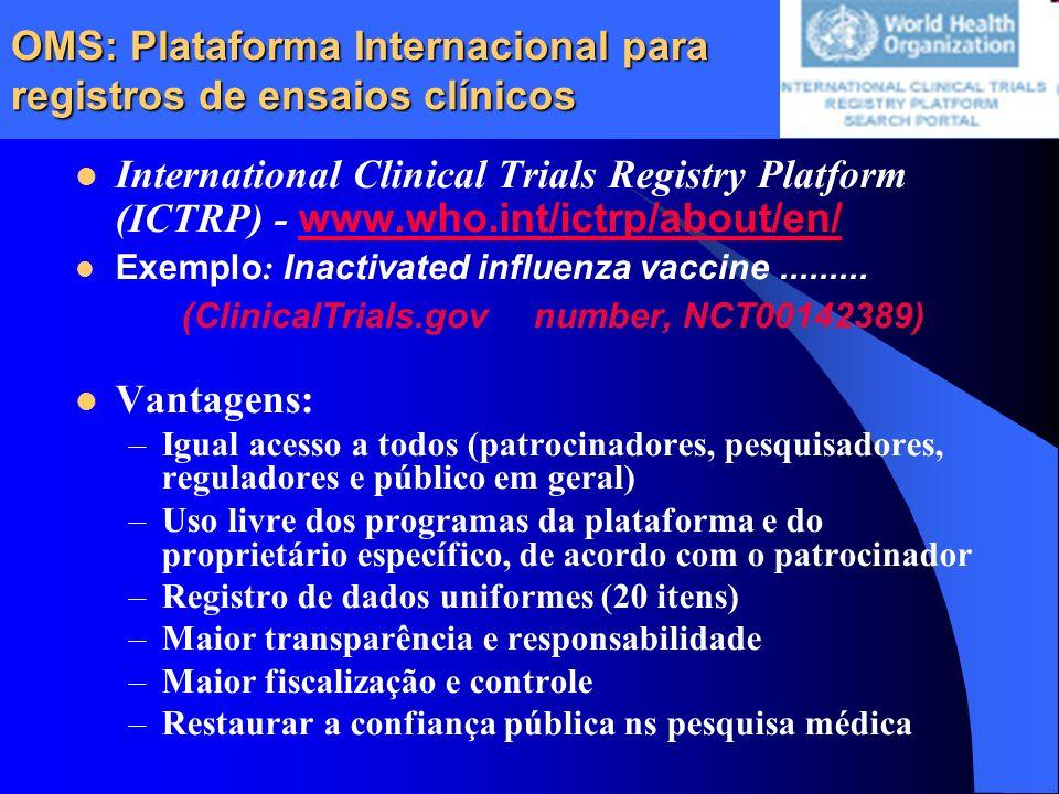 OMS: Plataforma Internacional para registros de ensaios clínicos International Clinical Trials Registry Platform (ICTRP) - www.who.int/ictrp/about/en/
