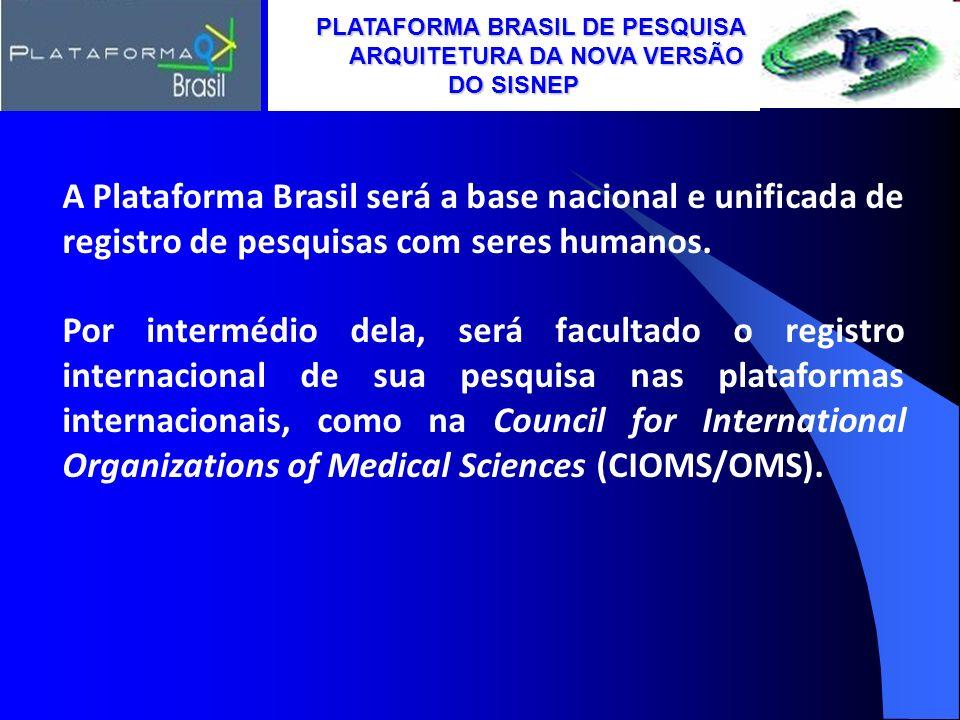 A Plataforma Brasil será a base nacional e unificada de registro de pesquisas com seres humanos. Por intermédio dela, será facultado o registro intern