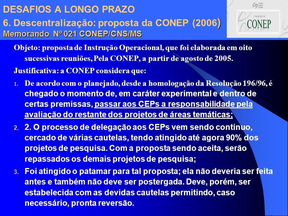 ) Memorando Nº 021 CONEP/CNS/MS DESAFIOS A LONGO PRAZO 6. Descentralização: proposta da CONEP (2006 ) Memorando Nº 021 CONEP/CNS/MS Objeto: proposta d