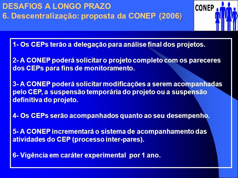 1- Os CEPs terão a delegação para análise final dos projetos. 2- A CONEP poderá solicitar o projeto completo com os pareceres dos CEPs para fins de mo