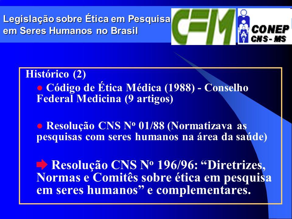 Legislação sobre Ética em Pesquisa em Seres Humanos no Brasil Histórico (2) Código de Ética Médica (1988) - Conselho Federal Medicina (9 artigos) Reso