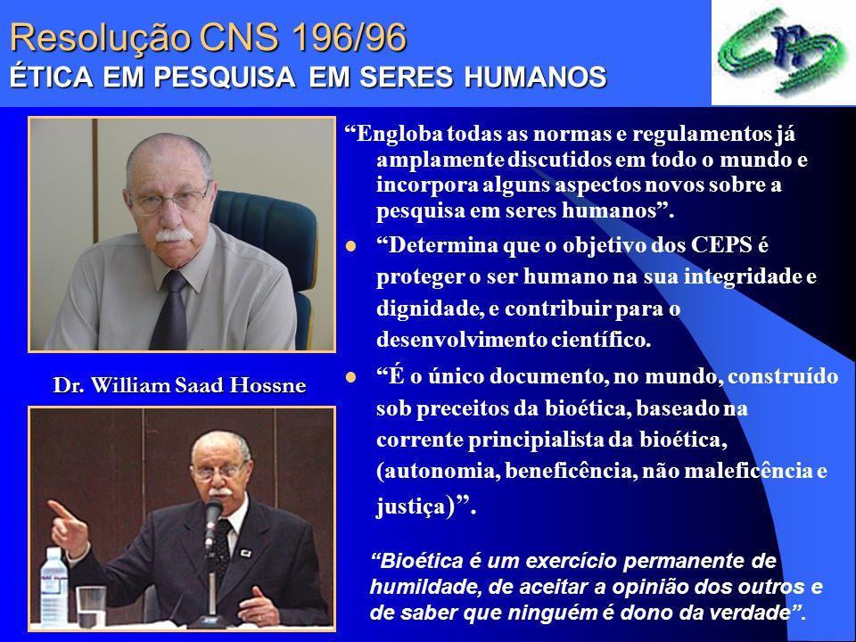 Resolução CNS 196/96 ÉTICA EM PESQUISA EM SERES HUMANOS Engloba todas as normas e regulamentos já amplamente discutidos em todo o mundo e incorpora al