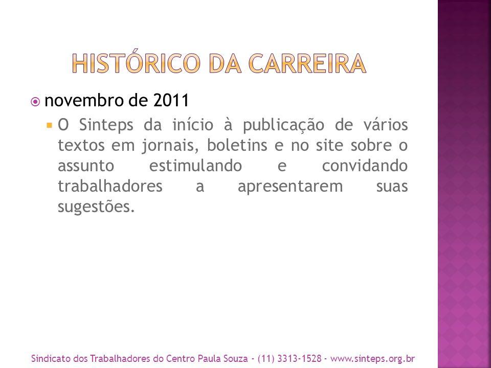 novembro de 2011 O Sinteps da início à publicação de vários textos em jornais, boletins e no site sobre o assunto estimulando e convidando trabalhadores a apresentarem suas sugestões.