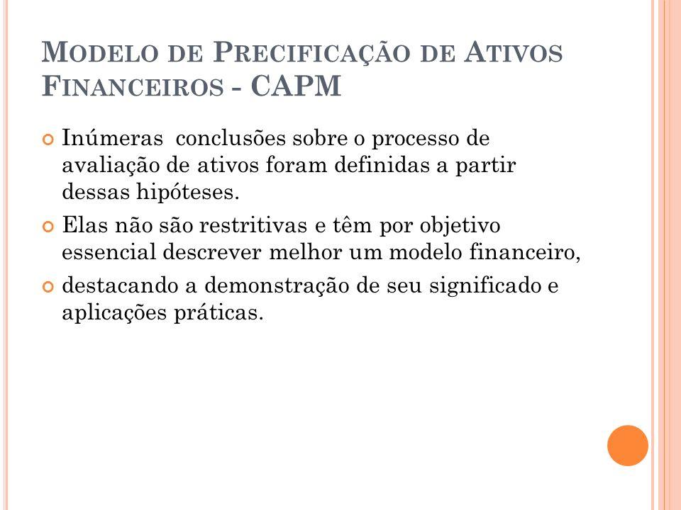 M ODELO DE P RECIFICAÇÃO DE A TIVOS F INANCEIROS - CAPM Inúmeras conclusões sobre o processo de avaliação de ativos foram definidas a partir dessas hipóteses.