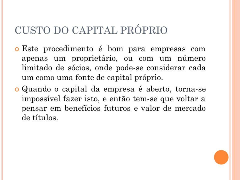 CUSTO DO CAPITAL PRÓPRIO Quais os benefícios que as ações da empresa dão direito.
