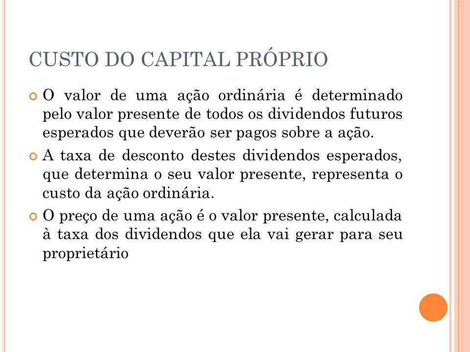 CUSTO DO CAPITAL PRÓPRIO O valor de uma ação ordinária é determinado pelo valor presente de todos os dividendos futuros esperados que deverão ser pagos sobre a ação.