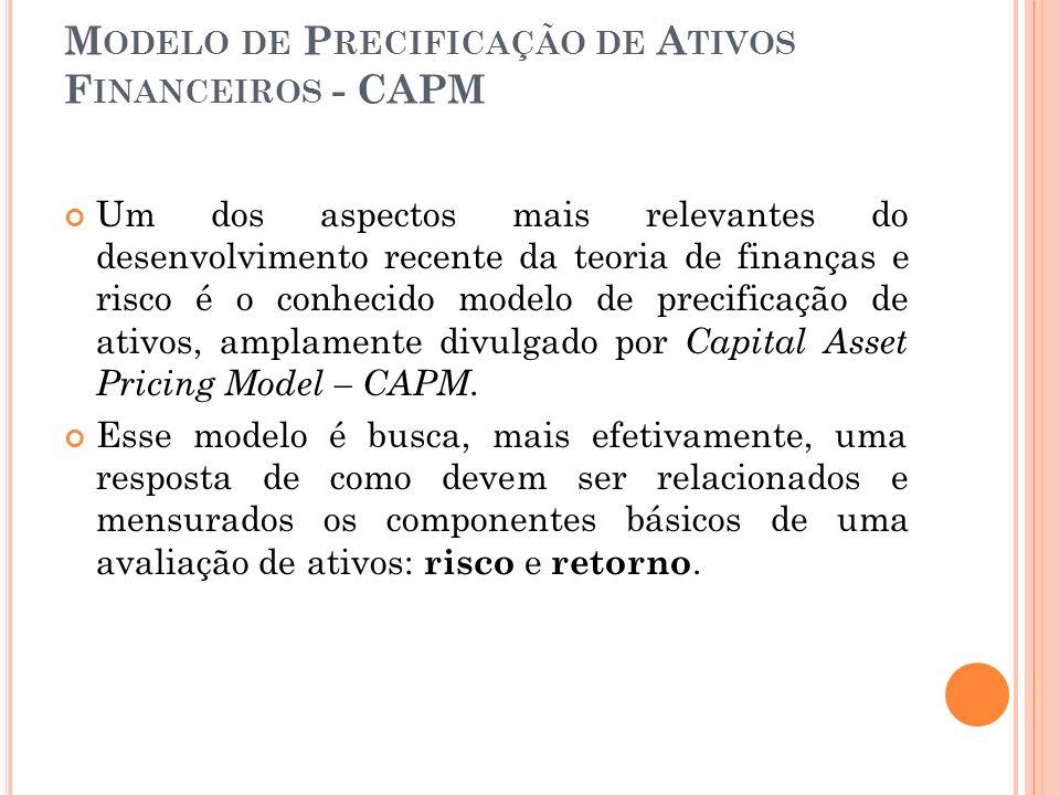 M ODELO DE P RECIFICAÇÃO DE A TIVOS F INANCEIROS - CAPM O CAPM é bastante utilizado nas várias operações de mercado de capitais, participando do processo de avaliação de tomada de decisões em condições de risco.