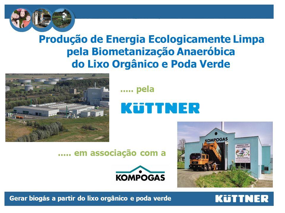 Gerar biogás a partir do lixo orgânico e poda verde Geração de energia elétrica e térmica Fertilizante liquido Composto Gás veícular GNV Gás natural GN