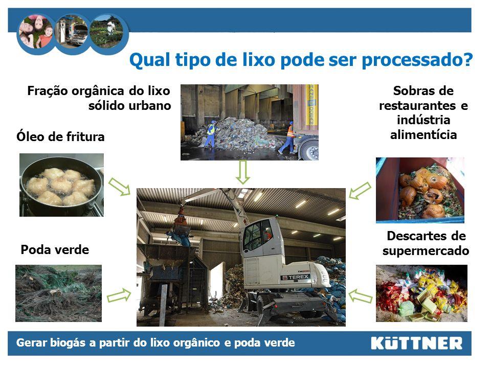 Gerar biogás a partir do lixo orgânico e poda verde Controle total de efluentes e emissões em prédio hermeticamente fechado