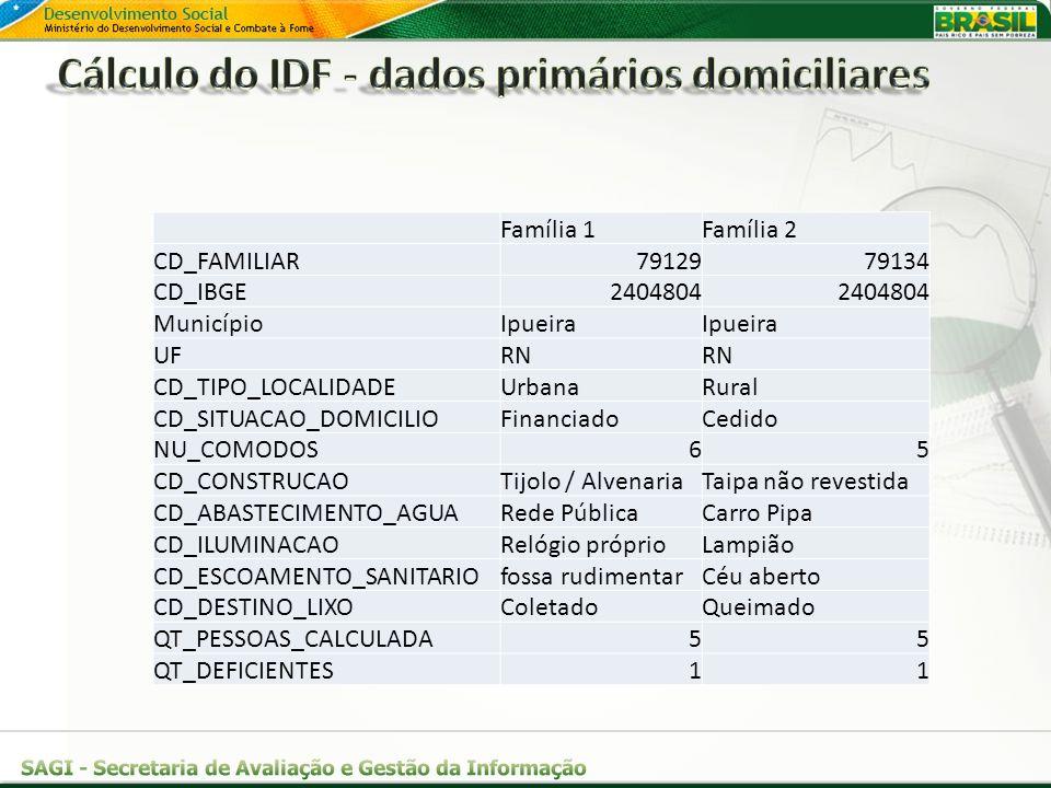 Família 1Família 2 CD_FAMILIAR7912979134 CD_IBGE2404804 MunicípioIpueira UFRN CD_TIPO_LOCALIDADEUrbanaRural CD_SITUACAO_DOMICILIOFinanciadoCedido NU_C