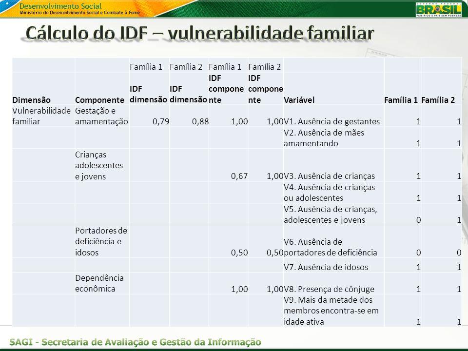 Família 1Família 2Família 1Família 2 DimensãoComponente IDF dimensão IDF compone nte VariávelFamília 1Família 2 Vulnerabilidade familiar Gestação e am