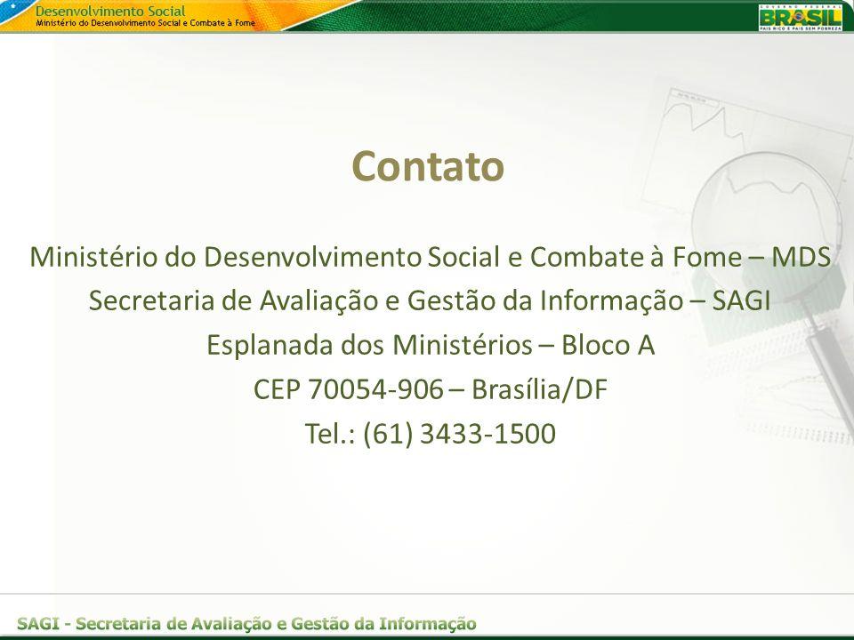 Ministério do Desenvolvimento Social e Combate à Fome – MDS Secretaria de Avaliação e Gestão da Informação – SAGI Esplanada dos Ministérios – Bloco A