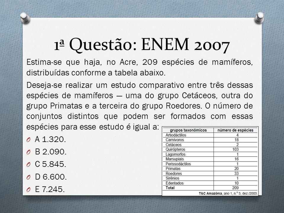 1ª Questão: ENEM 2007 Estima-se que haja, no Acre, 209 espécies de mamíferos, distribuídas conforme a tabela abaixo.