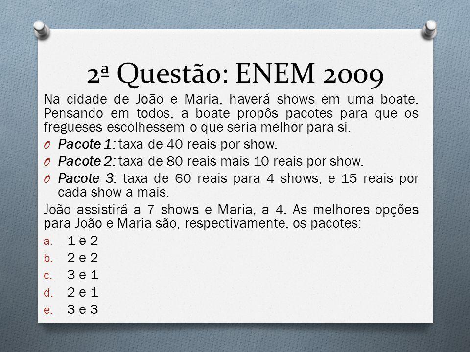 2ª Questão: ENEM 2009 Na cidade de João e Maria, haverá shows em uma boate.