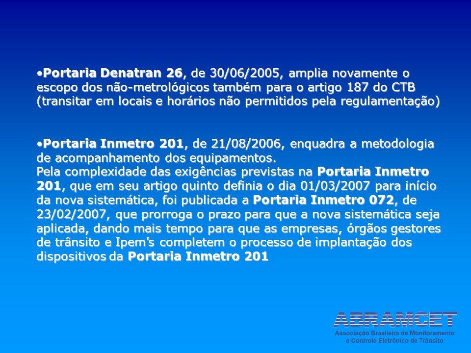 Portaria Denatran 26, de 30/06/2005, amplia novamente o escopo dos não-metrológicos também para o artigo 187 do CTB (transitar em locais e horários nã