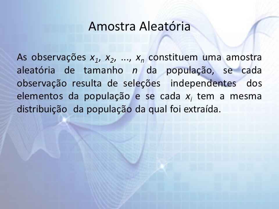 Amostra Aleatória As observações x 1, x 2,..., x n constituem uma amostra aleatória de tamanho n da população, se cada observação resulta de seleções independentes dos elementos da população e se cada x i tem a mesma distribuição da população da qual foi extraída.