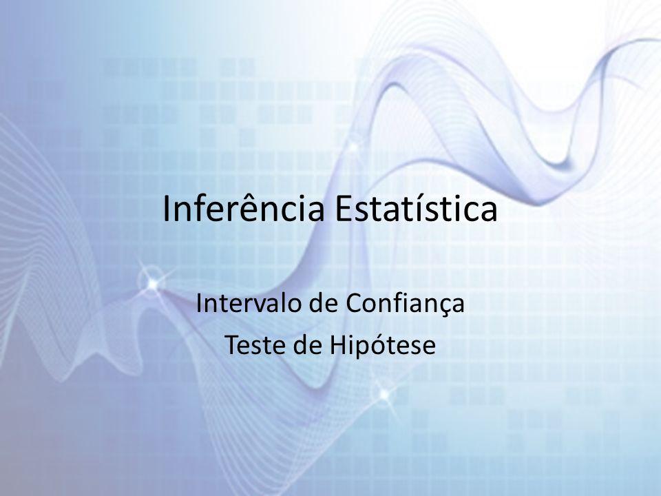 Inferência Estatística Intervalo de Confiança Teste de Hipótese