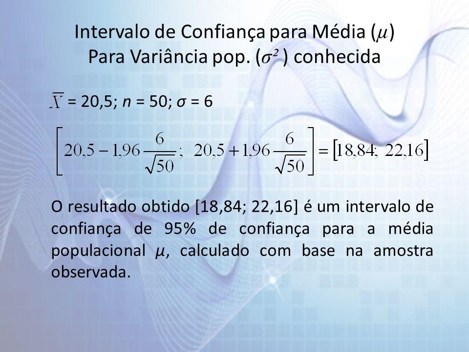 Intervalo de Confiança para Média ( µ ) Para Variância pop. ( σ² ) conhecida = 20,5; n = 50; σ = 6 O resultado obtido [18,84; 22,16] é um intervalo de
