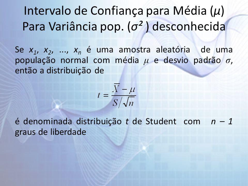 Intervalo de Confiança para Média (µ) Para Variância pop. (σ² ) desconhecida Se x 1, x 2,..., x n é uma amostra aleatória de uma população normal com