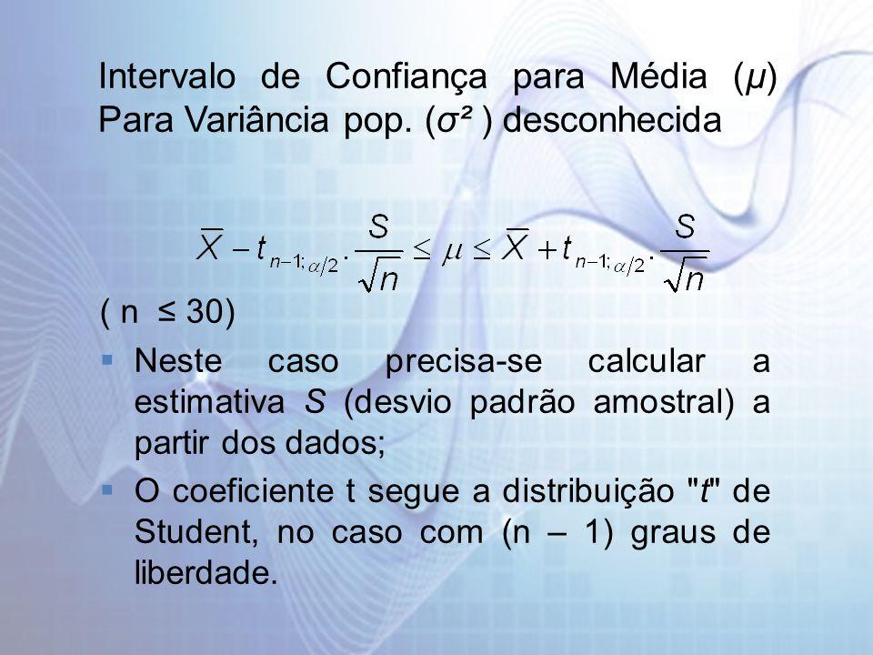 Intervalo de Confiança para Média (µ) Para Variância pop. (σ² ) desconhecida ( n 30) Neste caso precisa-se calcular a estimativa S (desvio padrão amos