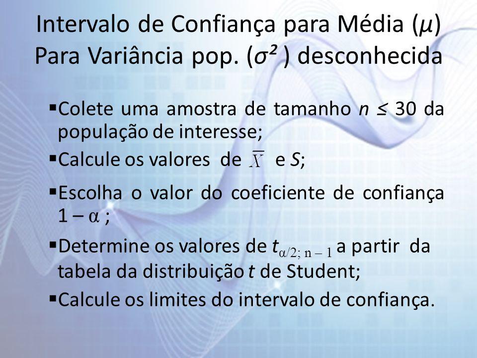 Intervalo de Confiança para Média (µ) Para Variância pop. (σ² ) desconhecida Colete uma amostra de tamanho n 30 da população de interesse; Calcule os