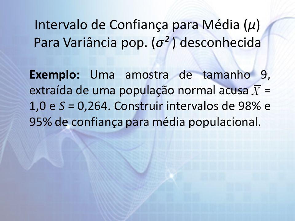 Intervalo de Confiança para Média (µ) Para Variância pop. (σ² ) desconhecida Exemplo: Uma amostra de tamanho 9, extraída de uma população normal acusa