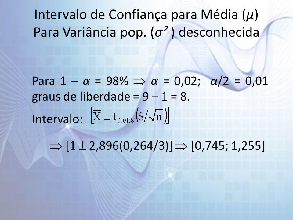Intervalo de Confiança para Média (µ) Para Variância pop. (σ² ) desconhecida Para 1 – α = 98% α = 0,02; α/2 = 0,01 graus de liberdade = 9 – 1 = 8. Int