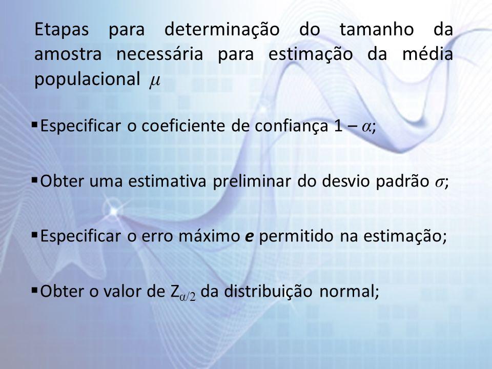 Etapas para determinação do tamanho da amostra necessária para estimação da média populacional μ Especificar o coeficiente de confiança 1 – α ; Obter uma estimativa preliminar do desvio padrão σ ; Especificar o erro máximo e permitido na estimação; Obter o valor de Z α/2 da distribuição normal;