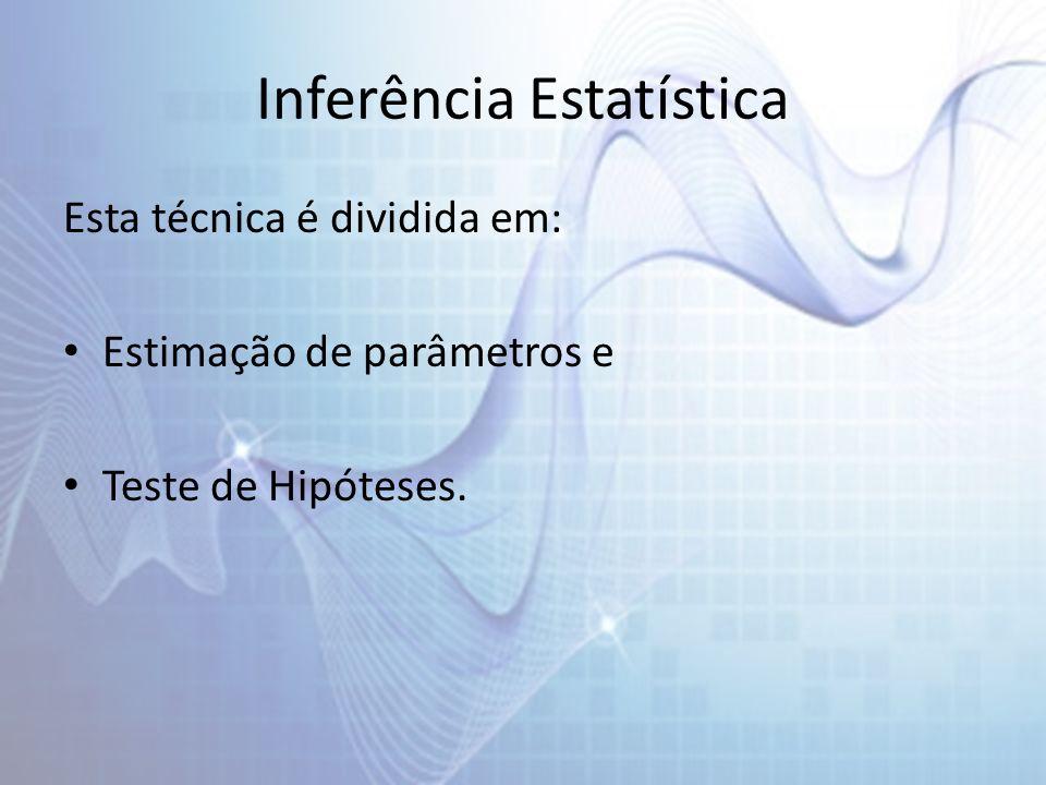 Conceitos Parâmetro É uma medida numérica que descreve alguma característica de uma população.Estatística É uma função das observações amostrais, que não depende de parâmetros desconhecidos.