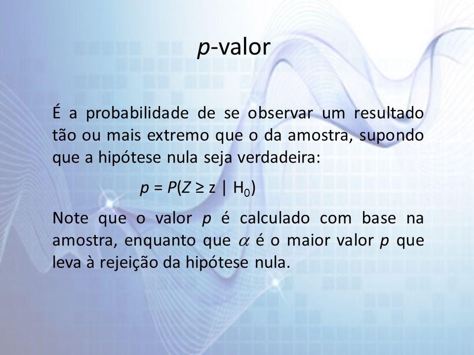 p-valor É a probabilidade de se observar um resultado tão ou mais extremo que o da amostra, supondo que a hipótese nula seja verdadeira: p = P(Z z | H 0 ) Note que o valor p é calculado com base na amostra, enquanto que é o maior valor p que leva à rejeição da hipótese nula.