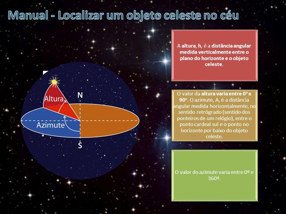 A altura, h, é a distância angular medida verticalmente entre o plano do horizonte e o objeto celeste. O valor da altura varia entre 0 o e 90 o. O azi