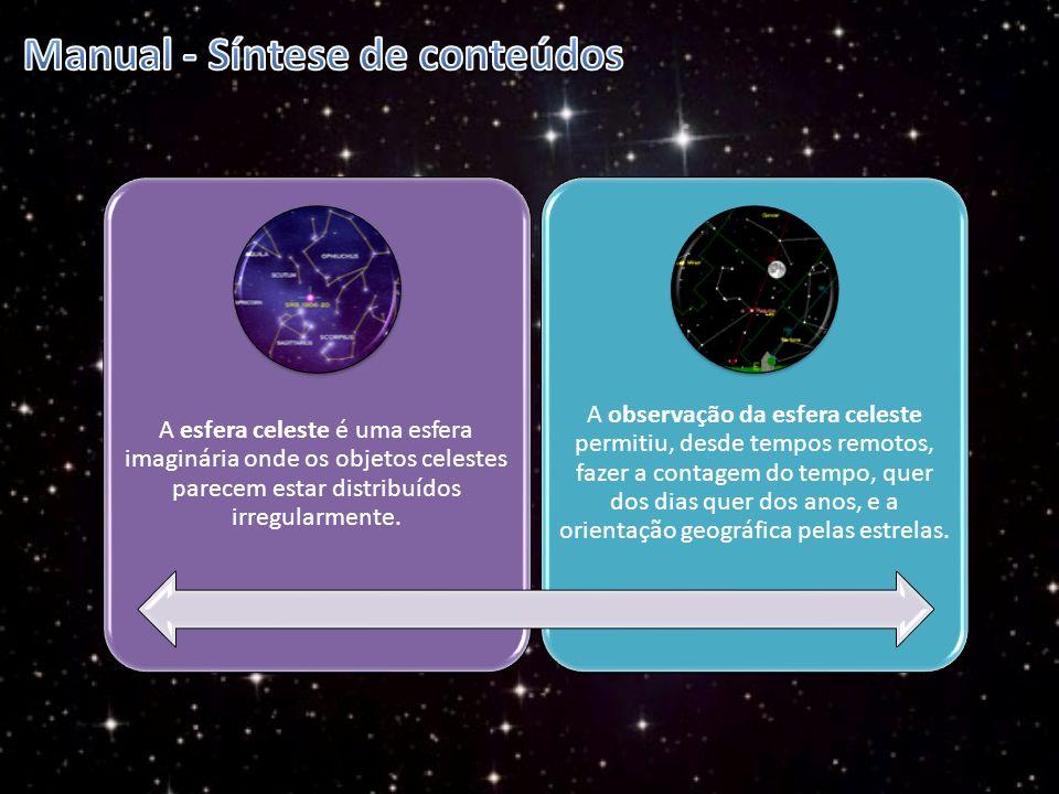A esfera celeste é uma esfera imaginária onde os objetos celestes parecem estar distribuídos irregularmente. A observação da esfera celeste permitiu,