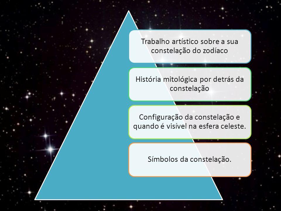 Trabalho artístico sobre a sua constelação do zodíaco História mitológica por detrás da constelação Configuração da constelação e quando é visível na