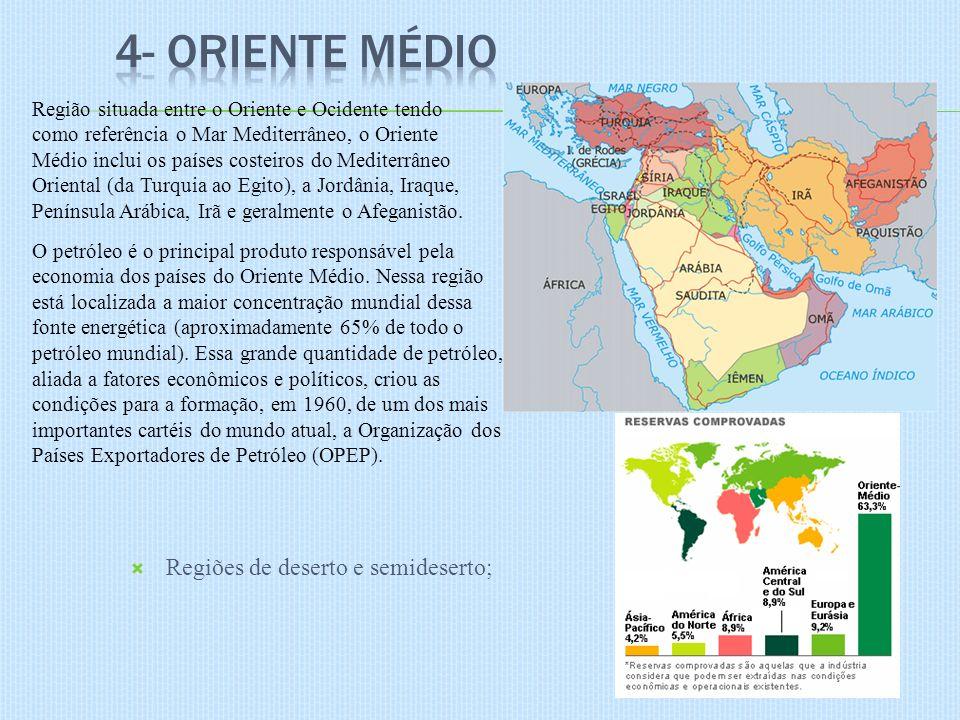 Regiões de deserto e semideserto; Região situada entre o Oriente e Ocidente tendo como referência o Mar Mediterrâneo, o Oriente Médio inclui os países costeiros do Mediterrâneo Oriental (da Turquia ao Egito), a Jordânia, Iraque, Península Arábica, Irã e geralmente o Afeganistão.