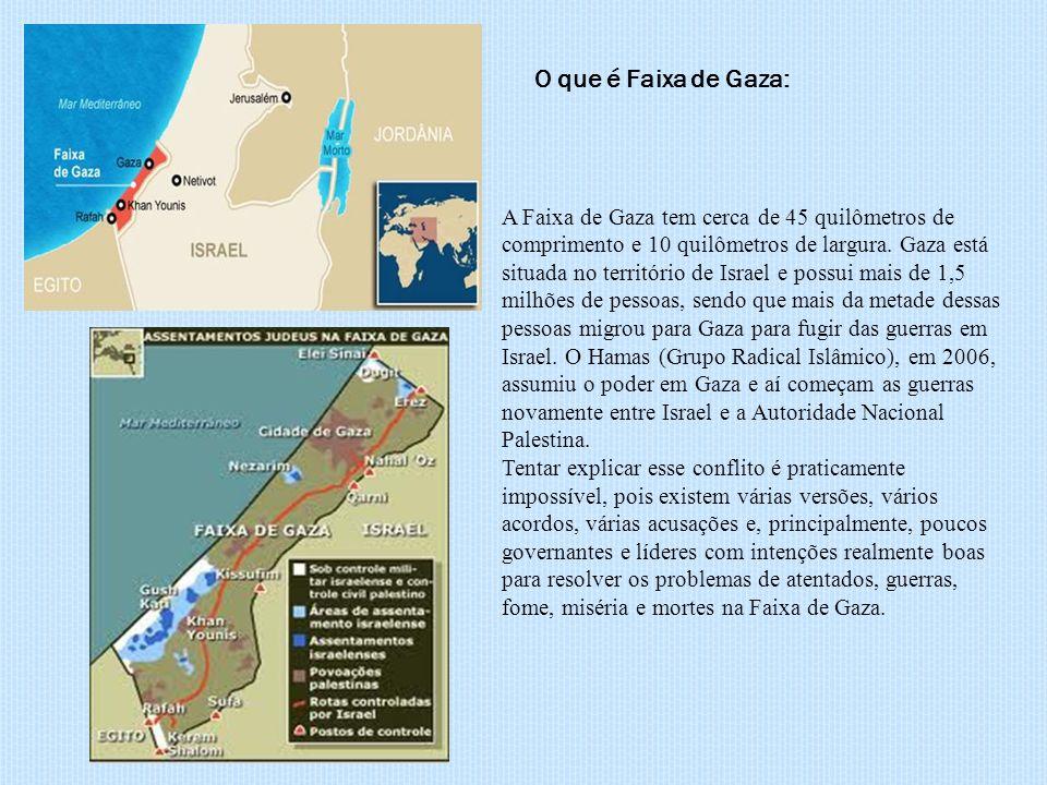 A Faixa de Gaza tem cerca de 45 quilômetros de comprimento e 10 quilômetros de largura. Gaza está situada no território de Israel e possui mais de 1,5