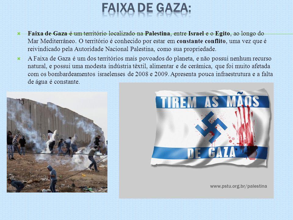 Faixa de Gaza é um território localizado na Palestina, entre Israel e o Egito, ao longo do Mar Mediterrâneo. O território é conhecido por estar em con