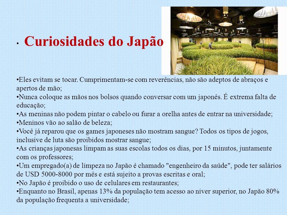 Curiosidades do Japão Eles evitam se tocar. Cumprimentam-se com reverências, não são adeptos de abraços e apertos de mão; Nunca coloque as mãos nos bo