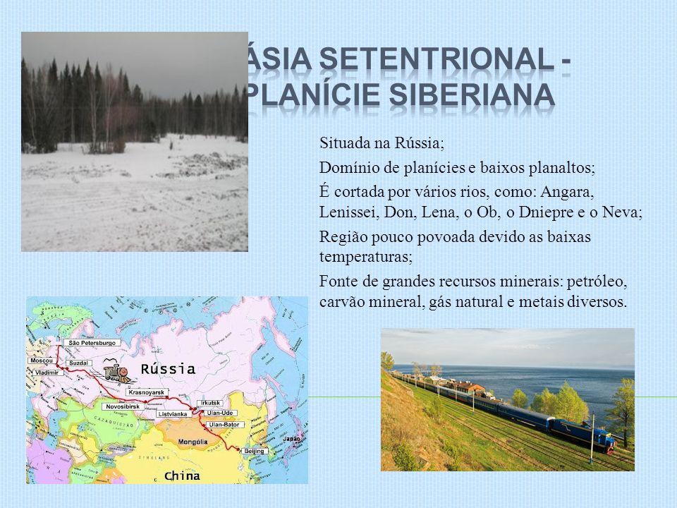Situada na Rússia; Domínio de planícies e baixos planaltos; É cortada por vários rios, como: Angara, Lenissei, Don, Lena, o Ob, o Dniepre e o Neva; Re