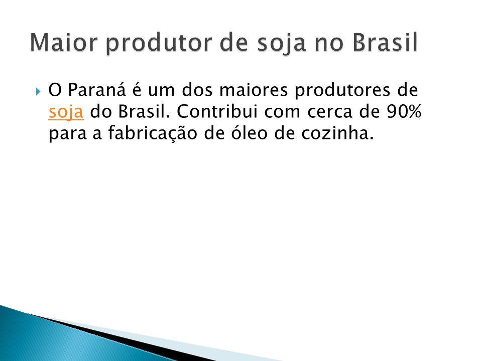 O Paraná é um dos maiores produtores de soja do Brasil. Contribui com cerca de 90% para a fabricação de óleo de cozinha. soja